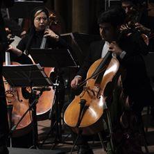 Picture of cello + orchestra